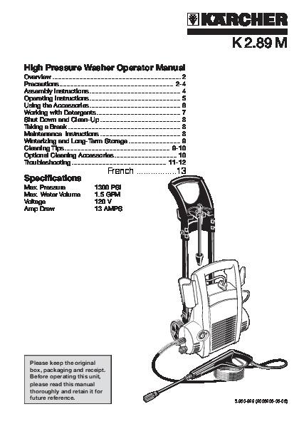 Kärcher K 2.89 M Electric Power High Pressure Washer