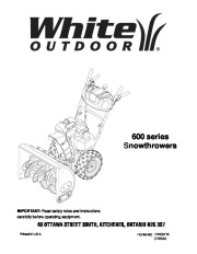 MTD White Outdoor 600 Series Snow Blower Owners Manual