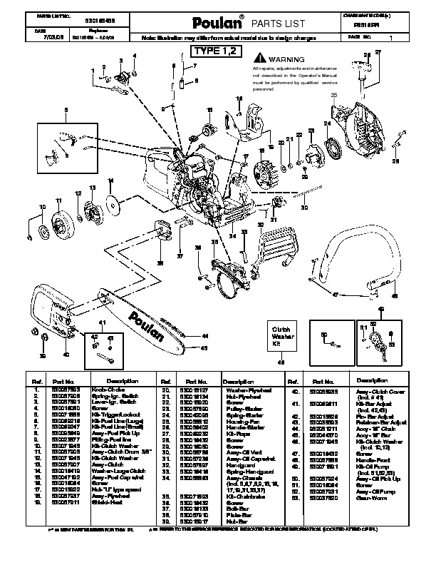 2008 Poulan P3516PR Chainsaw Parts List