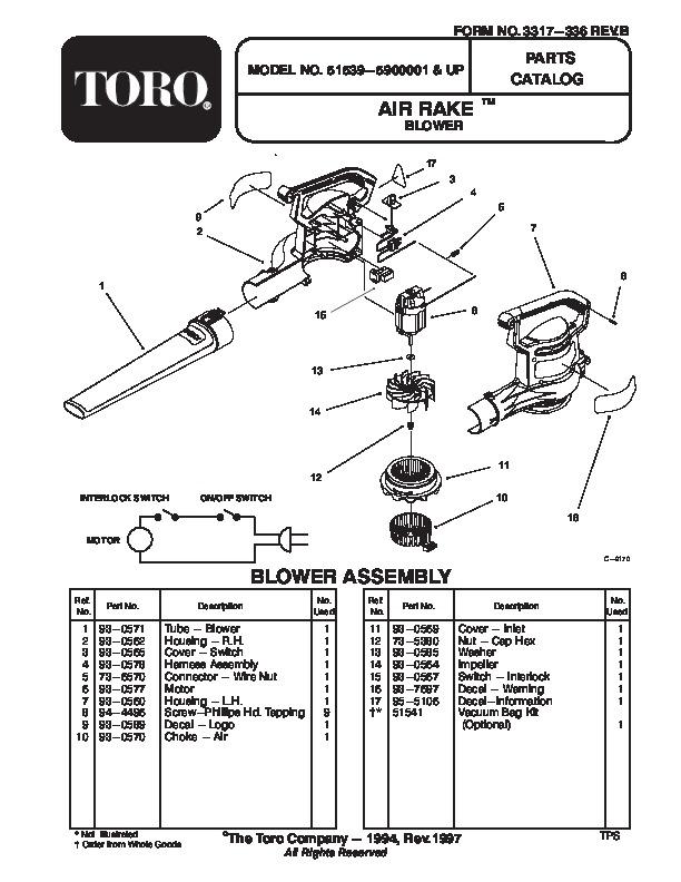 Toro 51539 Air Rake Blower Manual, 1998