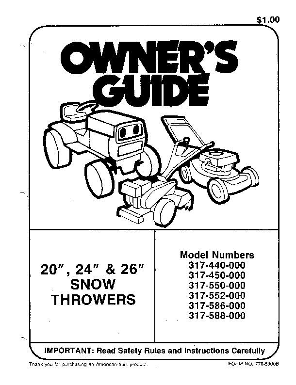 MTD 317 550 000 Snow Blower Owners Manual