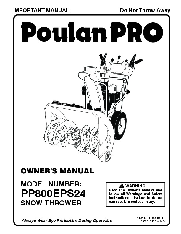 Poulan Pro PP800EPS24 440649 Snow Blower Owners Manual, 2010