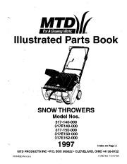 MTD 317-140 317E140 317-150 317E150 317E152-000 Snow