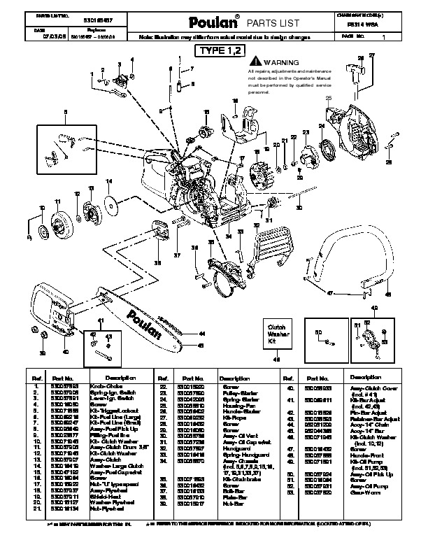 Poulan P3314 WSA Chainsaw Parts List, 2008