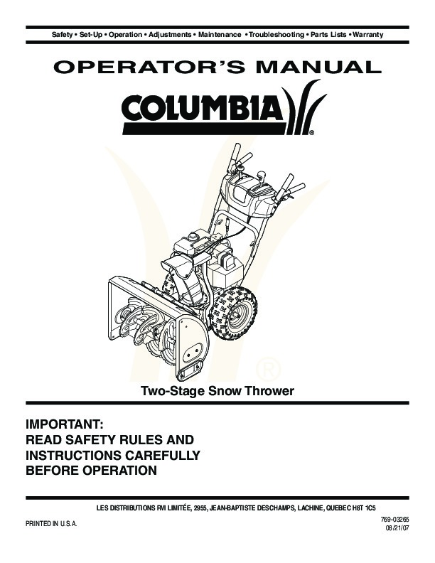 Columbia snowblower manual