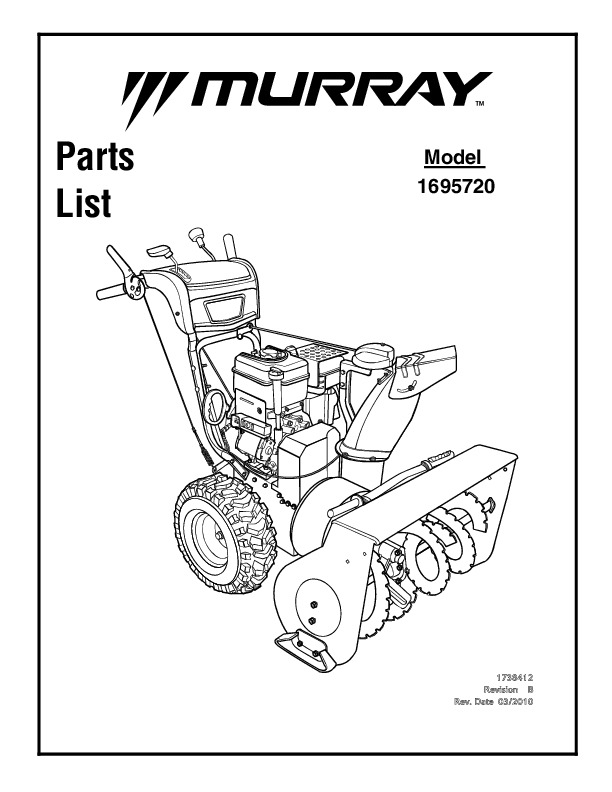 Murray Walk Behind 1695720 Snow Blower Parts Manual