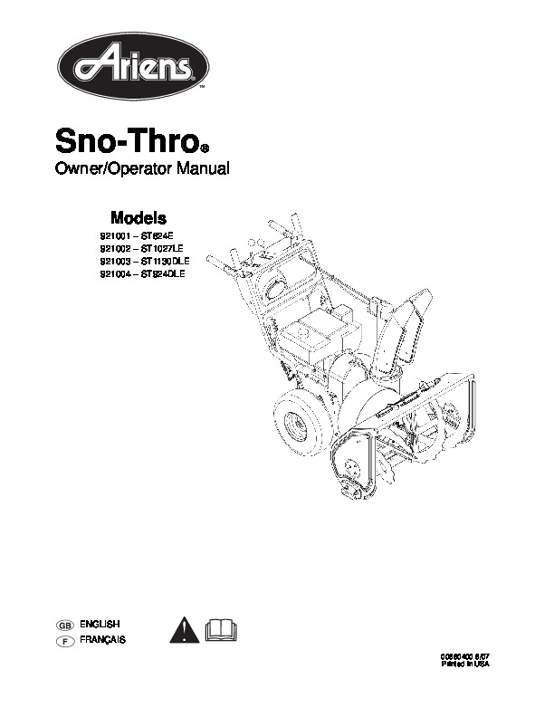 Ariens Sno Thro 921001 2 3 4 ST824E ST1027LE ST1130DLE