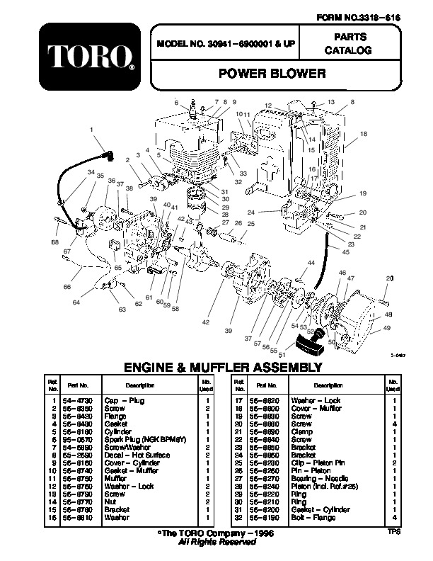 Toro 30941 41cc Back Pack Blower Manual, 1998