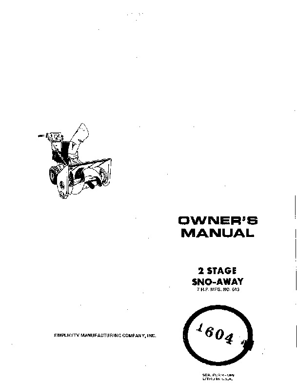 Simplicity 1604 Snow Blower Owners Manual