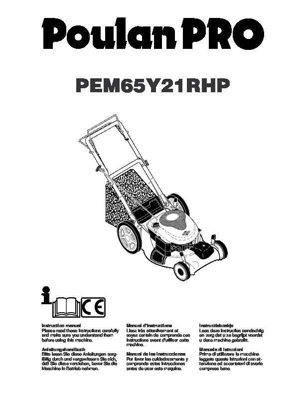 Poulan Pro PEM65Y21RHP Lawn Mower Owners Manual, 2005