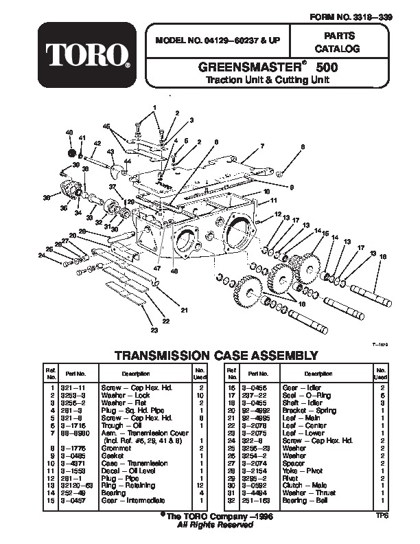 Toro 04129 Greensmaster 500 Lawn Mower Parts Catalog, 1996