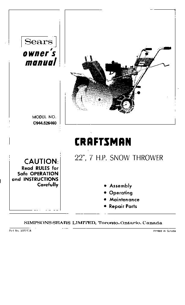 Craftsman Snowblower Manual 944