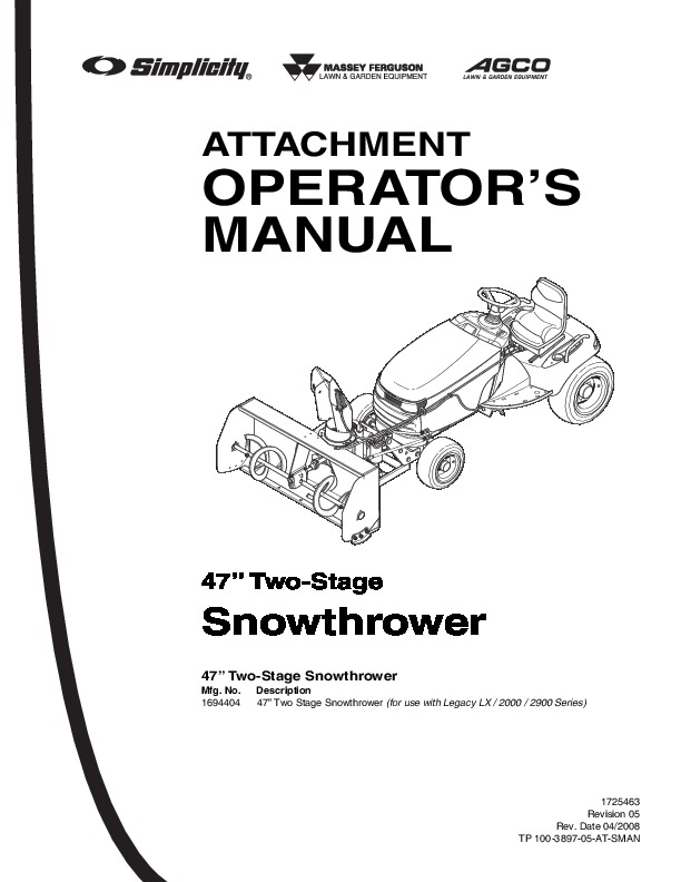 Simplicity 1694404 47-Inch Snow Blower Owners Manual