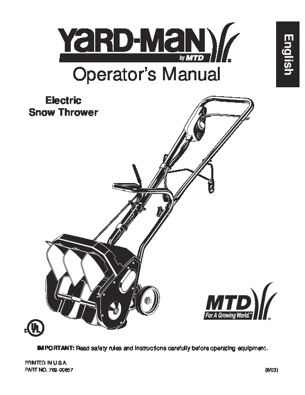 MTD Yard Man 769-00857 Electric Snow Blower Owners Manual