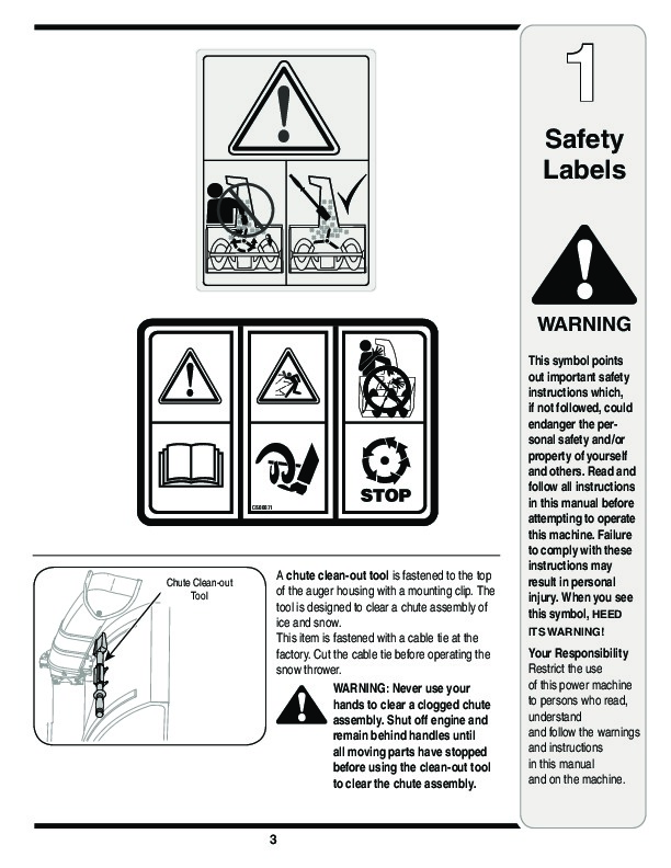 MTD Yard Man 769-03247 Snow Blower Owners Manual