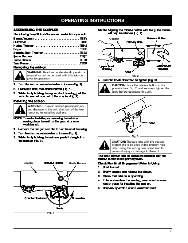 MTD Troy Bilt TBTB Turbo Snow Blower Owners Manual