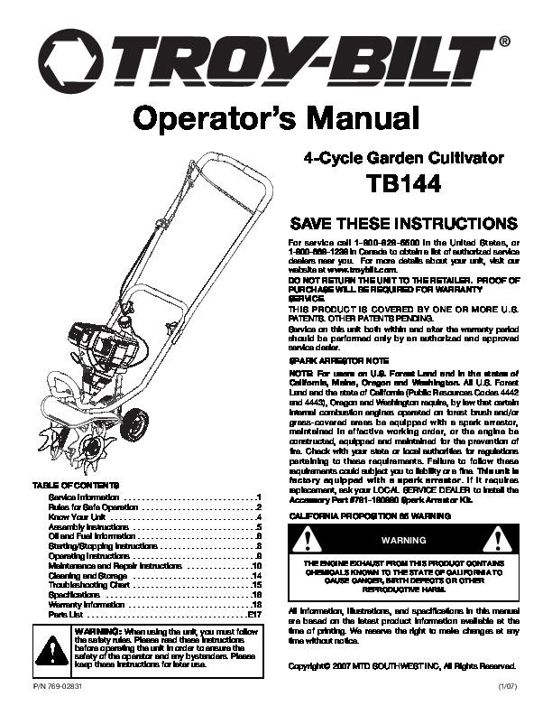 MTD Troy-Bilt TB144 Garden Cultivator Lawn Mower Owners Manual