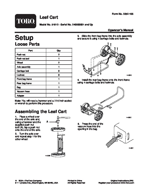 Toro 51612 Leaf Collection Cart Manual, 2004-2006