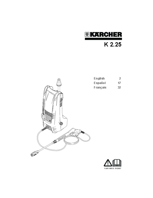 Kärcher K 2.25 Electric Power High Pressure Washer Owners