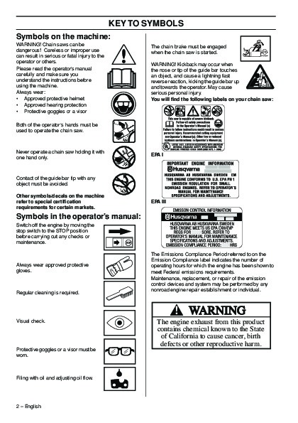 Husqvarna 365 372XP Chainsaw Owners Manual, 2001,2002,2003