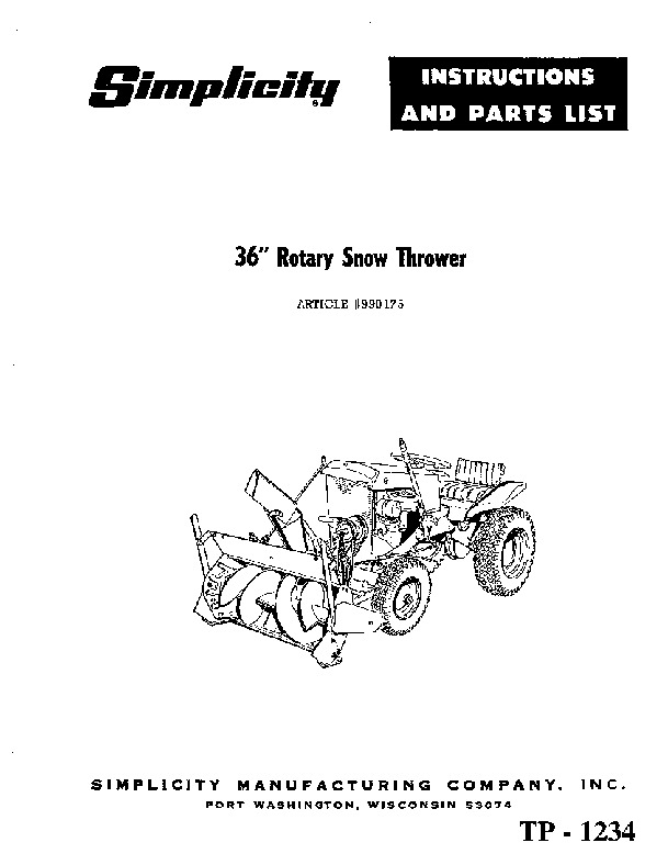 Simplicity 990175 36-Inch Snow Blower Owners Parts Manual
