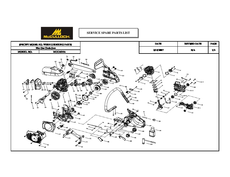 McCulloch MCC1635A Chainsaw Service Parts List
