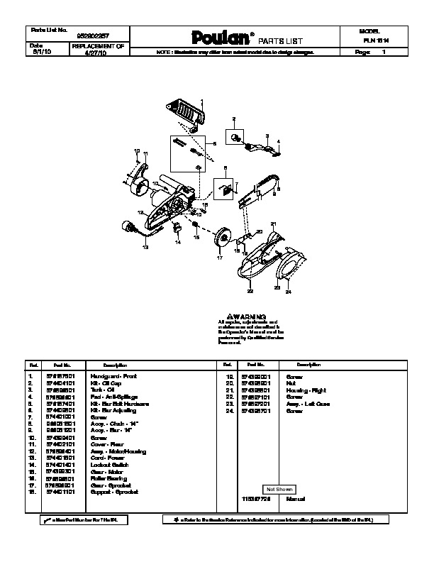 Poulan PLN1514 Chainsaw Parts List, 2010