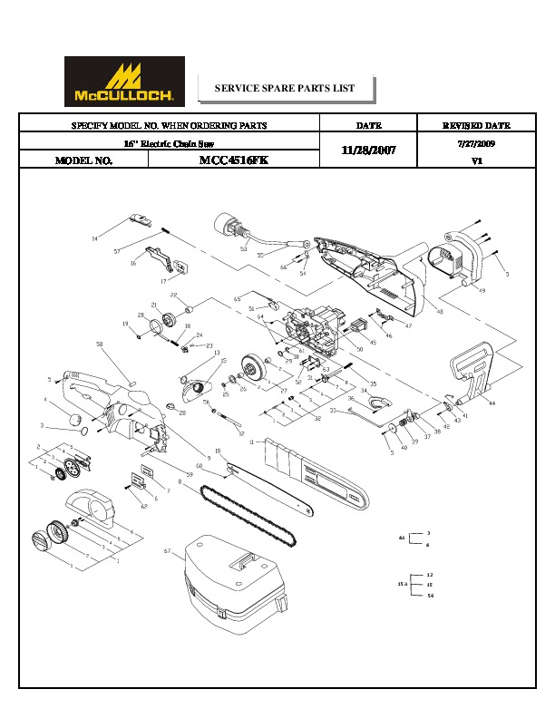 McCulloch IPL MCC4516FK 16inc Electric Chainsaw Service