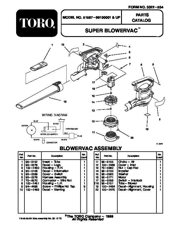 Toro 51587 Super Blower Vac Manual, 1999-2000