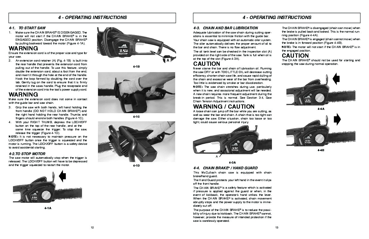 McCulloch MCC3516F MCC4516FC Electric Chainsaw Owners Manual