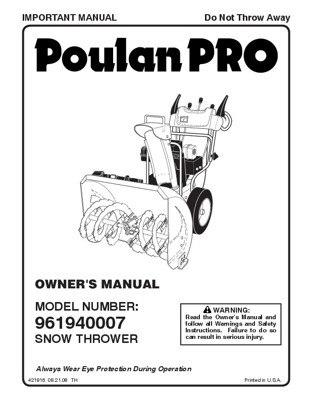 Poulan Pro 961940007 421916 Snow Blower Owners Manual, 2008