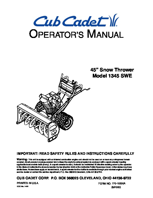 MTD Cub Cadet 1345 SWE 45-Inch Snow Blower Owners Manual
