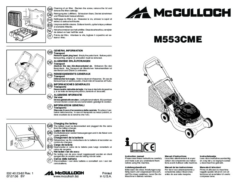 McCulloch M553 CME Lawn Mower Owners Manual, 2007