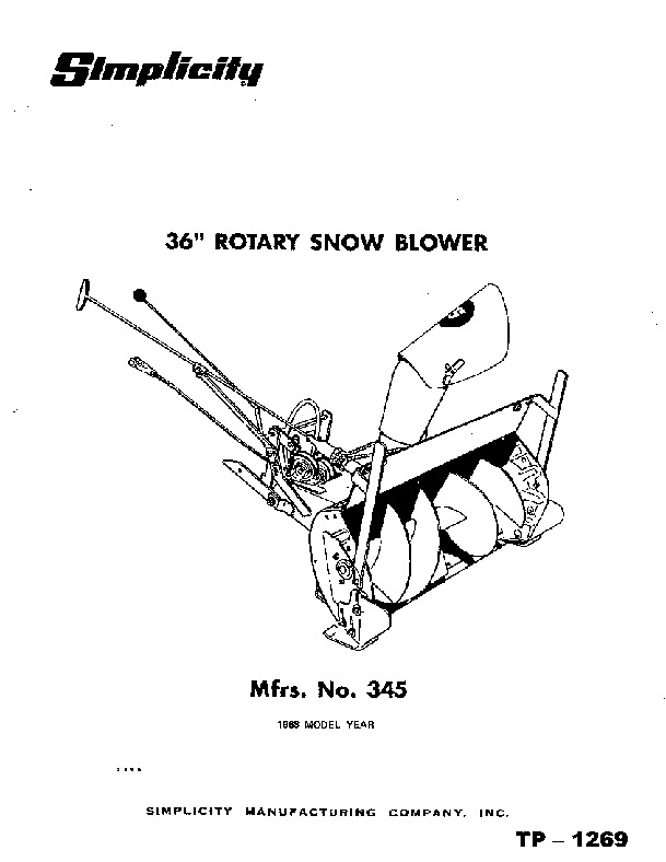 Simplicity 345 36-Inch Snow Away Rotary Snow Blower Owners
