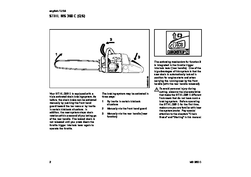 STIHL MS 360C Chainsaw Owners Manual