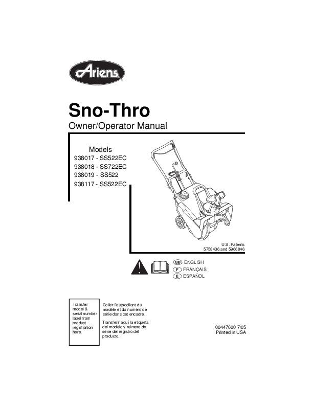 Ariens Sno Thro 938017 SS522EC 938018 SS722EC 938019 SS522