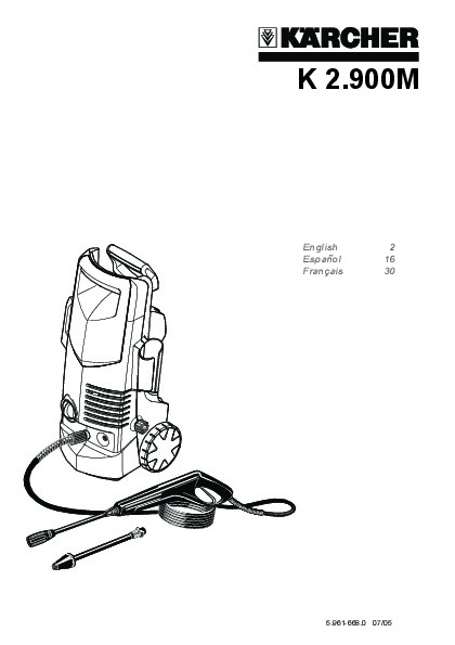 Kärcher K 2.900 M Electric Power High Pressure Washer Owners Manual