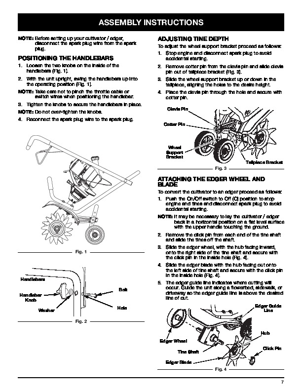 Craftsman 316.292711 4 Cycle Cultivator Edger Lawn Mower