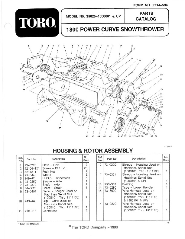 Toro 38025 1800 Power Curve Snowblower Manual, 1991