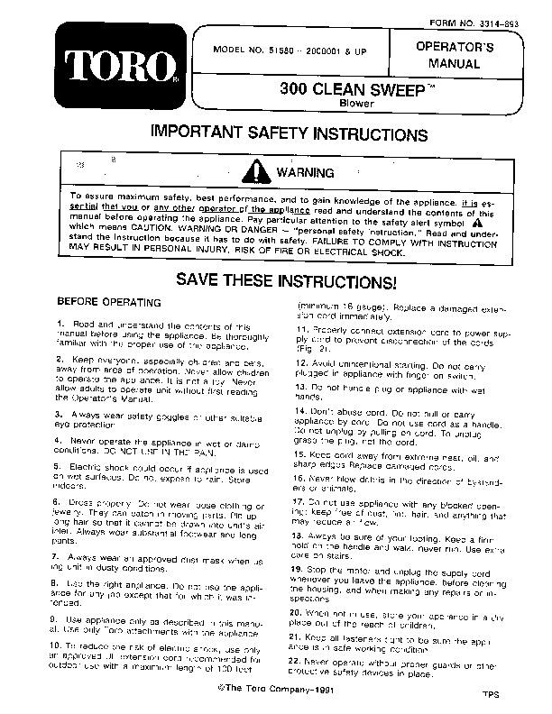 Toro 51580 300 Clean Sweep Manual, 1992