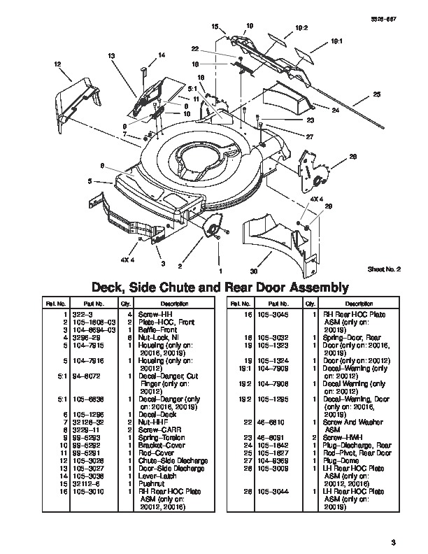Toro 20019 22-Inch Recycler Lawn Mower Parts Catalog, 2003
