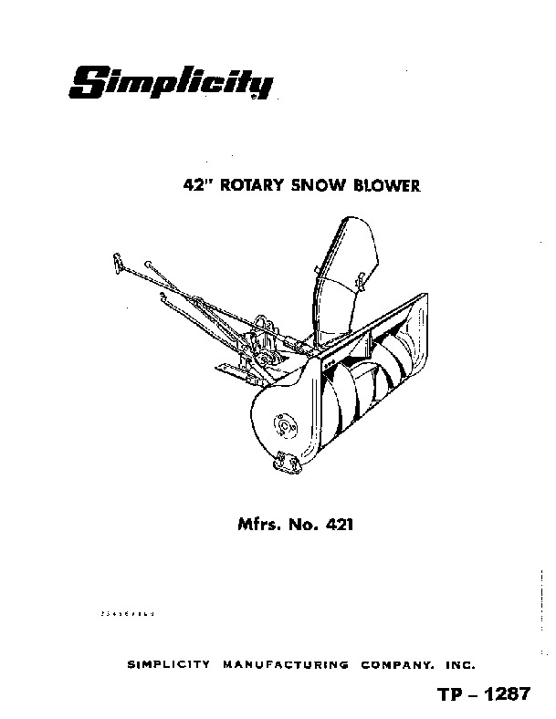 Simplicity 421 42-Inch Rotary Snow Blower Owners Manual