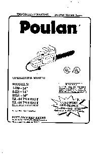 Poulan 1420 1425 1625 EL 14 EL 16 Chainsaw Owners Manual
