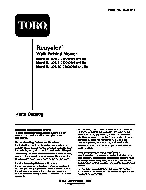 Toro 20022 20023 20025 20027 20035 R-21S Recycler Lawn