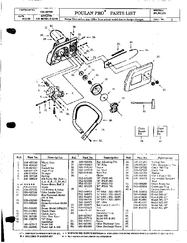 Poulan Pro 285 305 335 Chainsaw Parts List, 1990
