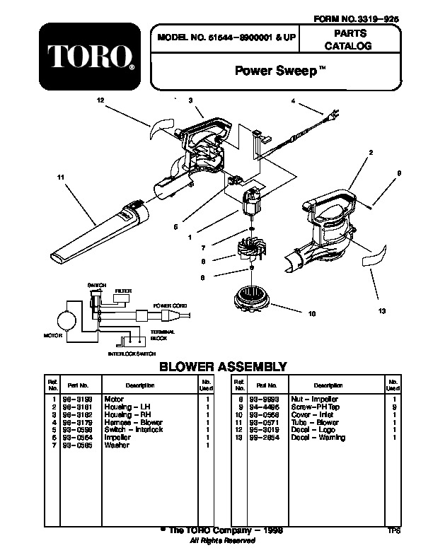 Toro 51544 Power Sweep Blower (Australian model) Manual, 1999