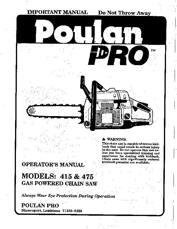 Poulan Pro 415 475 Chainsaw Owners Manual, 1990