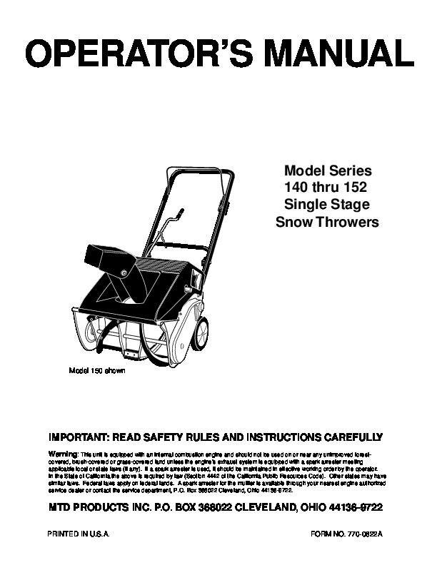 MTD 140 152 Snow Blower Owners Manual