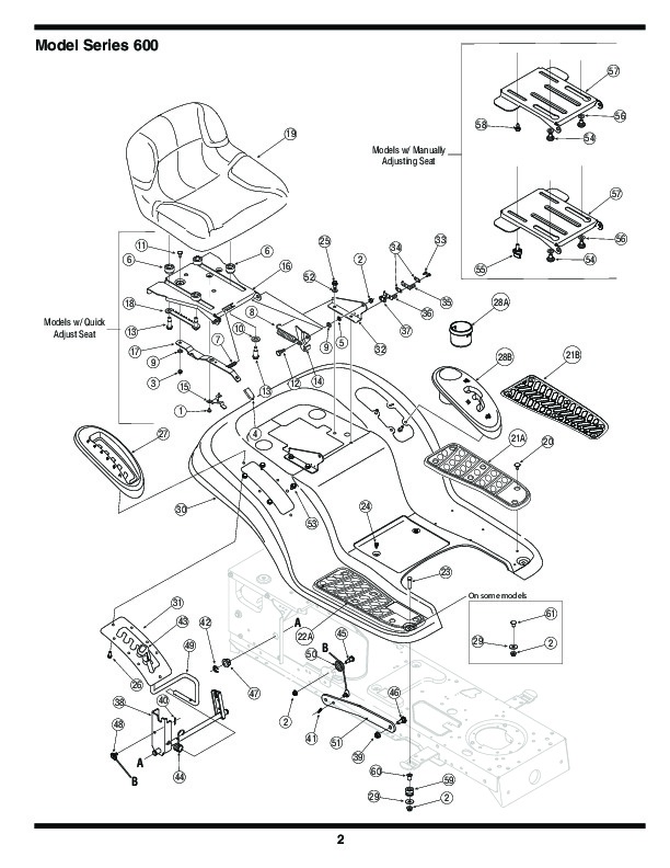 MTD 600 Series Automatic Lawn Tractor Lawn Mower Parts List