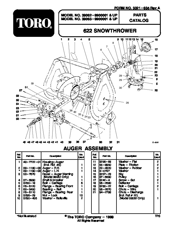 Toro 622 38062 Snow Blower Owners Manual 1999